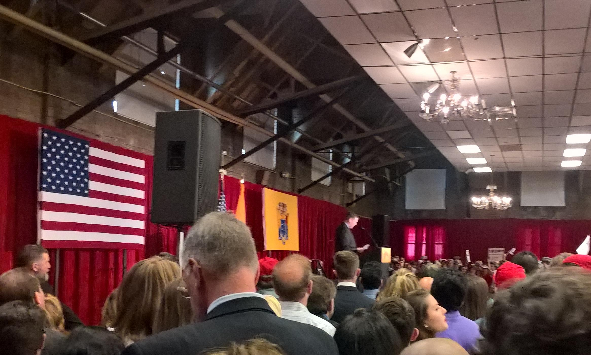 Senator Mike Doherty speaks at a Trump event at the Lawrenceville National Guard Armory on May 19th, 2016.